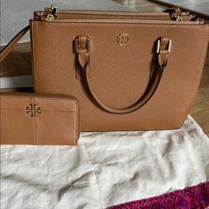 Tory Burch Robinson tote and wallet brown